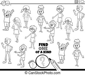 one of a kind game with kids color book page
