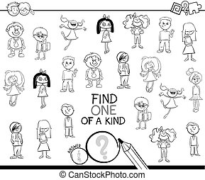 one of a kind game with kids coloring book - Black and White...