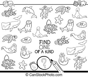one of a kind game with marine animals color book - Black ...