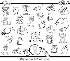 one of a kind game with mice color book - Black and White...