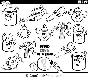 one of a kind game with objects coloring book page - Black ...