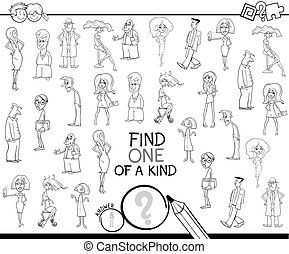 one of a kind game with people color book - Black and White...