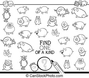 one of a kind game with pig coloring book - Black and White...