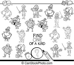 one of a kind game with pirates color book - Black and White...