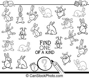 one of a kind game with rabbits coloring book - Black and...