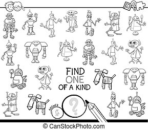 one of a kind game with robots color book - Black and White...
