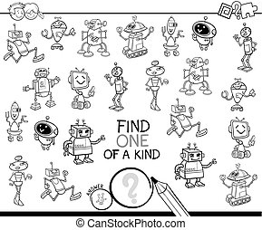 one of a kind game with robots coloring book - Black and...