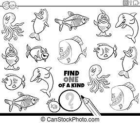 one of a kind game with sea animals color book page
