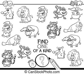 one of a kind game with wild animals color book - Black and ...