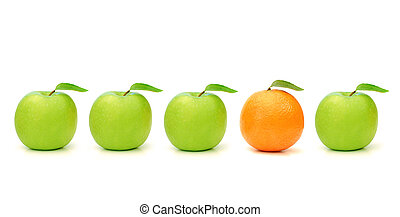One of a kind - Orange stands out in a line of green apples