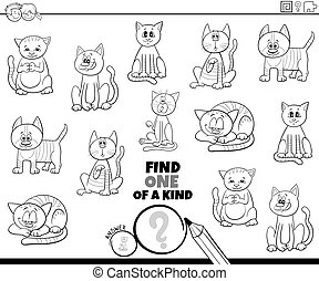 one of a kind task with cats coloring book page - Black and ...