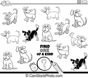 one of a kind task with dogs coloring book page - Black and ...