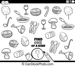 one of a kind task with food objects color book page
