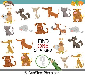 one of a kind with dogs - Cartoon Illustration of Find One...