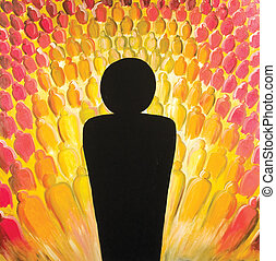 abstract expressionistic oil painting of a silhouetted figure against a background of many smaller figures. I painted this myself and so own all the rights to this image. ©2006 Clarence Bowman (Exoboy).