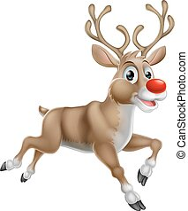 Christmas Cartoon Reindeer - One of Santas Cute Christmas...