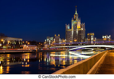 One of seven Stalin skyscrapers: the high-rise building on Kotelnicheskaya Embankment in night illumination, Moscow