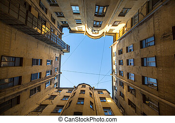 One of the court yard-wells in the historic center of St....