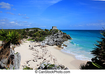 Tulum -  One of the many temples at the Mayan city of Tulum.