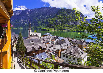 One of the most beautiful lakes of Europe and scenic village Hallstatt in Austria