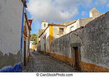 narrow, charming street in Obidos, Portugal