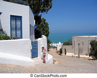 One of the scenic street in Sidi Bou Said, Tunisia
