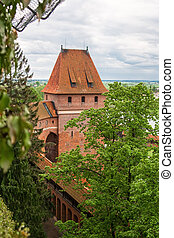 One of the towers of a medieval castle. Gdanisko. Malbork. Poland