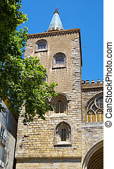 One of the two Gothic towers of the main facade of Evora...