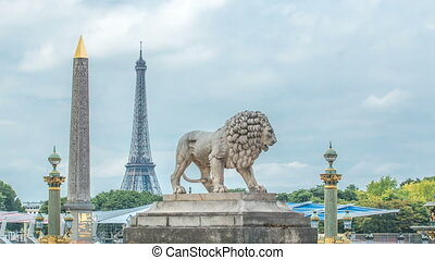 One of the two marble lions of the Tuileries garden overhanging the Concorde place in Paris timelapse