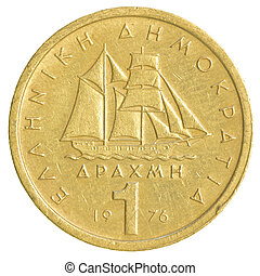 one old Greek Drachma coin isolated on white background