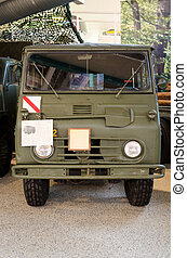 one old swedish military green car