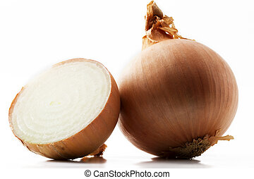 one onion and a half onion on white background