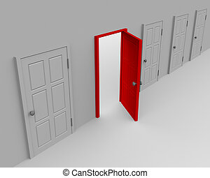 One open door and four closed. 3d image.