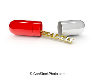 one open pill with the word: health (3d render)