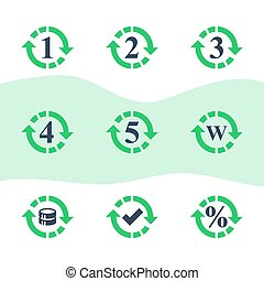 One or five year warranty sign, number two in circle arrow, round three symbol, durable product, durability guarantee, period cycle, upgrade level, vector icon set