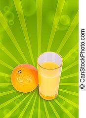 One orange and juice