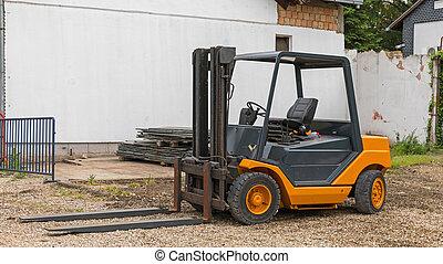 Orange Forklift Truck