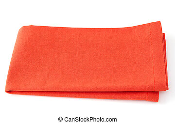 one orange napkin on white background