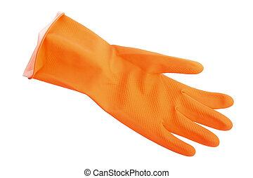 One orange rubber glove.