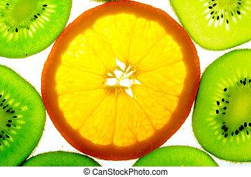One orange slice with many kiwi slices