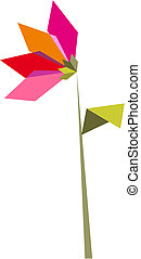 One Origami vibrant colors flower.