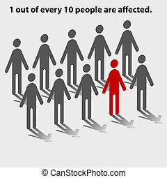 One Out of Ten People - Statistical chart of people showing...