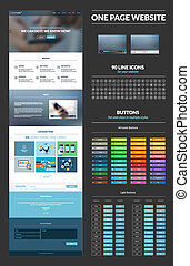 All in one set for website design that includes one page website templates, set of 90 line icons, set of 44 iconic buttons, set of normal, hovered and pressed buttons, video presentation elements, and flat design concept illustrations