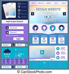 One page website design template, flat ui kit. All in one...