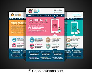 One page website flat UI design template. It include a lot...