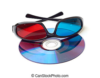 one pair of 3D glasses isolated in white