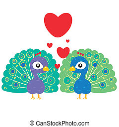 one pair of cute peacocks - one pair of cute cartoon peacock...