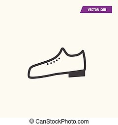 One pair of flat man shoe icon.