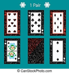 one pair playing card poker combination. vector illustration eps 10. On a green background. To use for design, registration, the websites, dressing, the press, etc.