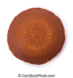 One pancake isolated on a white background